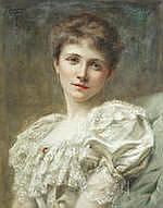 THOMAS COWPER (BRITISH FL.1891-1906) Portrait of Gertrude Cook for her wedding day 18