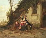 HENDRICK JOSEPH DILLENS (BELGIAN, 1812-1872) Children defending a kitten signed 'H.Di