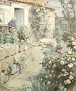 AR HAROLD KNIGHT, RA, ROI, RP (BRITISH, 1874-1961) Cottage garden signed 'Harold Knig
