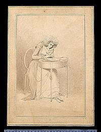 Samuel de Wilde (British, 1751-1832) Sarah Siddons (née Kemble) (1755–1831), seated at a round table, drawing, she wears jacket with layered short sleeves and lapels, over dress, fichu, ruffle and curled powdered wig