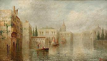 James Salt (British, 1850-1903) Venetian canal scene