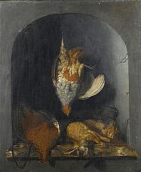 Cornelis van Lelienbergh (The Hague 1626-1676) A dead partridge hanging from a nail,