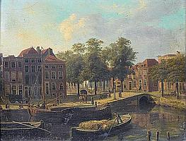 Follower of Fredericus Theodorus Renard (Amsterdam 1778-circa 1820) A Dutch townscape with barges on a canal