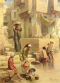 Paul Dominique Philippoteaux (French, 1845-1923) Wash day on the Nile