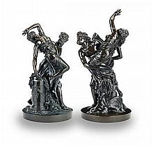 """After Gian Lorenzo Bernini (Italian, 1598-1680) and Gaspard Marsy (French 1624 -1681): A near pair of patinated bronze figural groups of """"The Rape of Proserpina"""" and """"The Abduction of Orithyia by Boreas"""""""