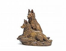 Jules Edmund Masson (French 1871-1932): A patinated bronze group of two Alsation dogs