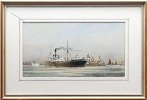 Colin Verity (British, 20th Century) Shipping on the Thames