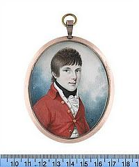 Joseph Bowring (British, born circa 1760-died after 1817) A Boy, wearing scarlet coat with gold buttons, white waistcoat with gold buttons, white frilled chemise and black stock
