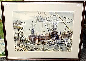 Alan Ian Ronald, RSW (British, 1899-1967) Ship yard
