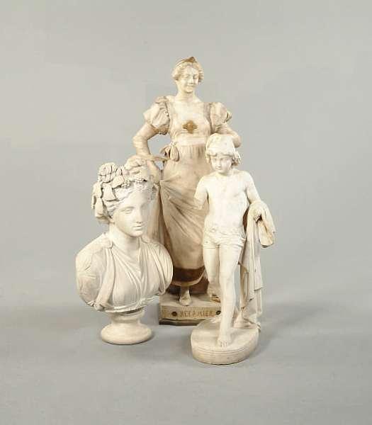 A John Adams-Acton (British, b. 1834): A sculpted marble figure of a semi-clad boy