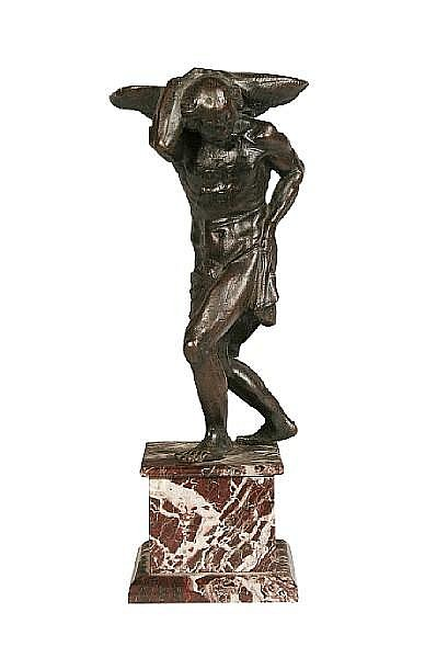 After the model attributed to Girolamo Campagna (Italian, 1549-1625): A 17th / 18th century bronze salt modelled as a man carrying a scallop shell