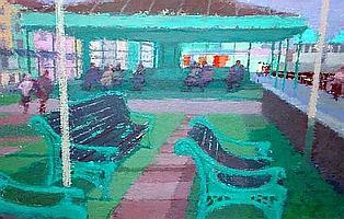 Arthur Stewart Mackay (British, born 1909) The Promenade Shelter 16cm x 24cm.