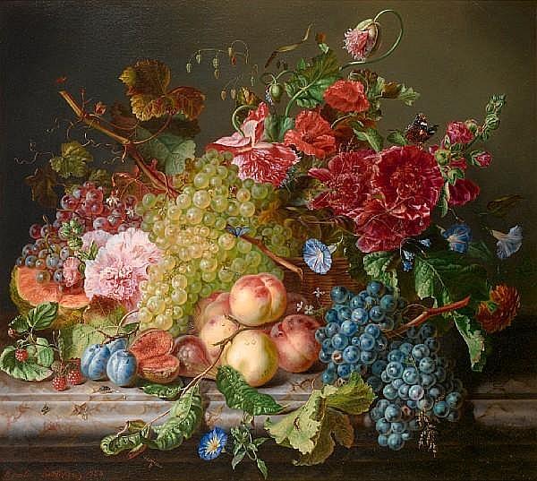 Amalie Kaercher (German, D.1871) Still life with fruit and flowers on a ledge