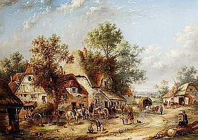 Georgina Lara (British, active 1840-1880) A busy village street