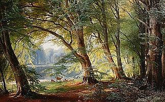 Carl Frederik Peder Aagaard (Danish, 1833-1895) Deer beside a lake