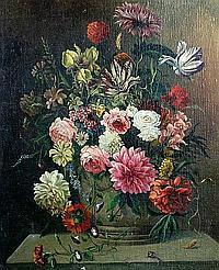 Karl Heiner (Austrian) Roses and other flowers in an urn on a ledge