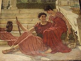 Reginald Ernest Arnold (British, 1853-1938) Two classical figures seated on a terrace