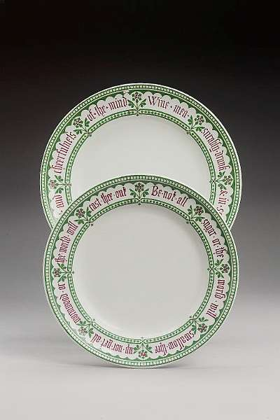 Two Minton earthenware plates from the 'Proverb' service