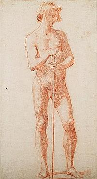 Attributed to Jacopo Chimenti, called Jacopo da Empoli (Empoli circa 1554-1640 Florence) Male nude with staff in a C17th Italian silvered and faux tortoiseshell cassetta frame with gilt gadrooned sight