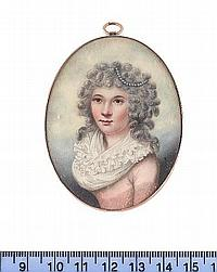 Joseph Bowring (British, born circa 1760-died after 1817) A Lady, wearing pink dress with white frilled fichu, a strand of pearls in her curled, powdered hair