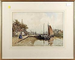 John Ernest Aitken (British, 1881-1957), Estury scene with figures