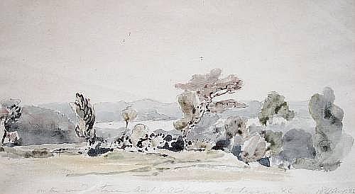 Agostino Aglio (Italian, 1777-1857) Landscape by the river Severn