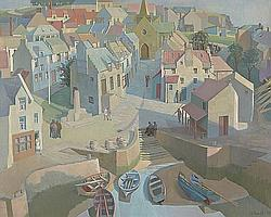 "Alan Ian Ronald, RSW (British, 1899-1967) ""Conception of a Fifeshire Neuk"""