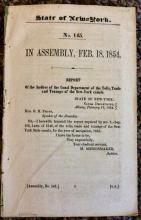 ANTIQUE 1854 State Of New York Erie Canal Government Audit Document On Erie Canal Operations Signed in TYPE by Canal Auditor
