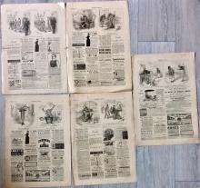 Lot Of (5) ANTIQUE 1886 Harper's Weekly Small Nast Cartoons Signed In Images Lampooning Politics Remainder of Page with vintage Ads