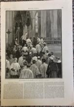 ANTIQUE 1886 Harper's Weekly Full Page Illustration Of The Investiture Of The Archbishop Of New York City