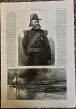 ANTIQUE 1886 Harper's Weekly Large Illustration Of Civil War General & Indian Fighter O. O. Howard