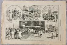 ANTIQUE 1888 Harper's Weekly Full Page Engraving Of Chicago Street-car Strike Violence