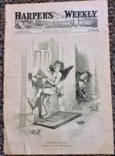 ANTIQUE 1886 Harper's Weekly Full Page Thomas Nast Woodblock Art Cartoon. Signed In Image Praising Civil Service Reform.