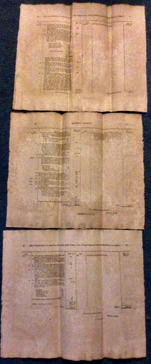 (3) Antique Charts Ambassador Tobias Lear Accounts 1812