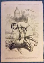 ANTIQUE 1876 Thomas Nast Full Page Harper's Weekly Cartoon