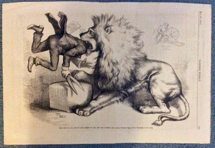ANTIQUE 1876 Thomas Nast Full Page Harper's Weekly Cartoon