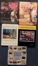 5 Watercolor Art Book Lot HCs W/ DJs