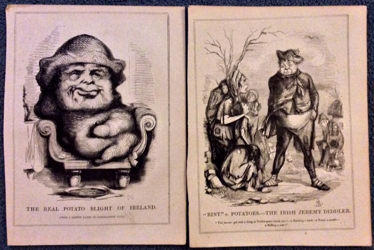 2 19th Century Irish Potato Famine Punch Illustrations