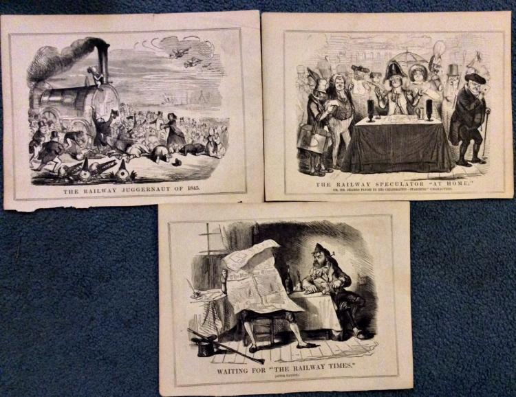 5 19th Century English RR Speculation Punch Illustrations