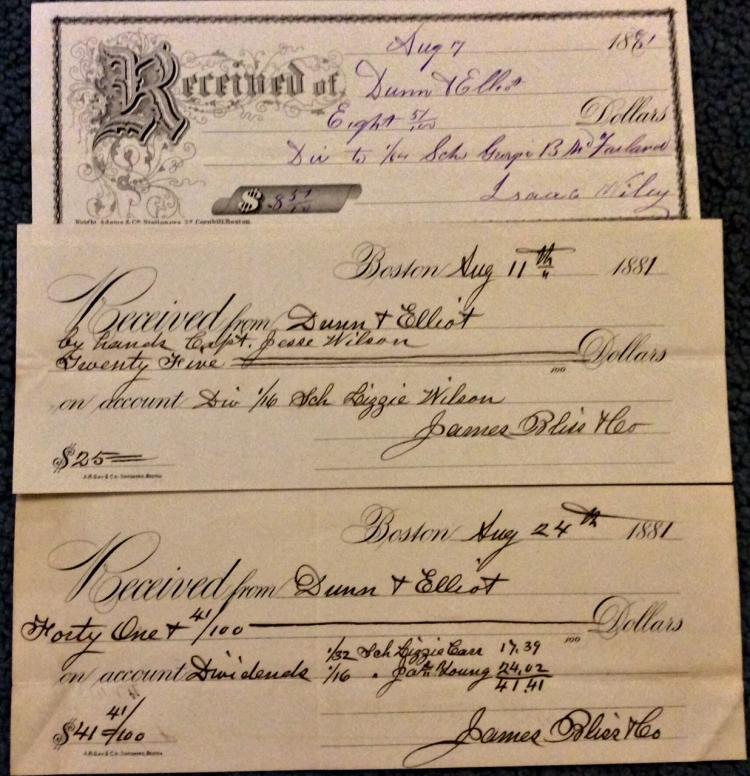 (3) Nautical Paper 19th Century Schooner Share Receipts