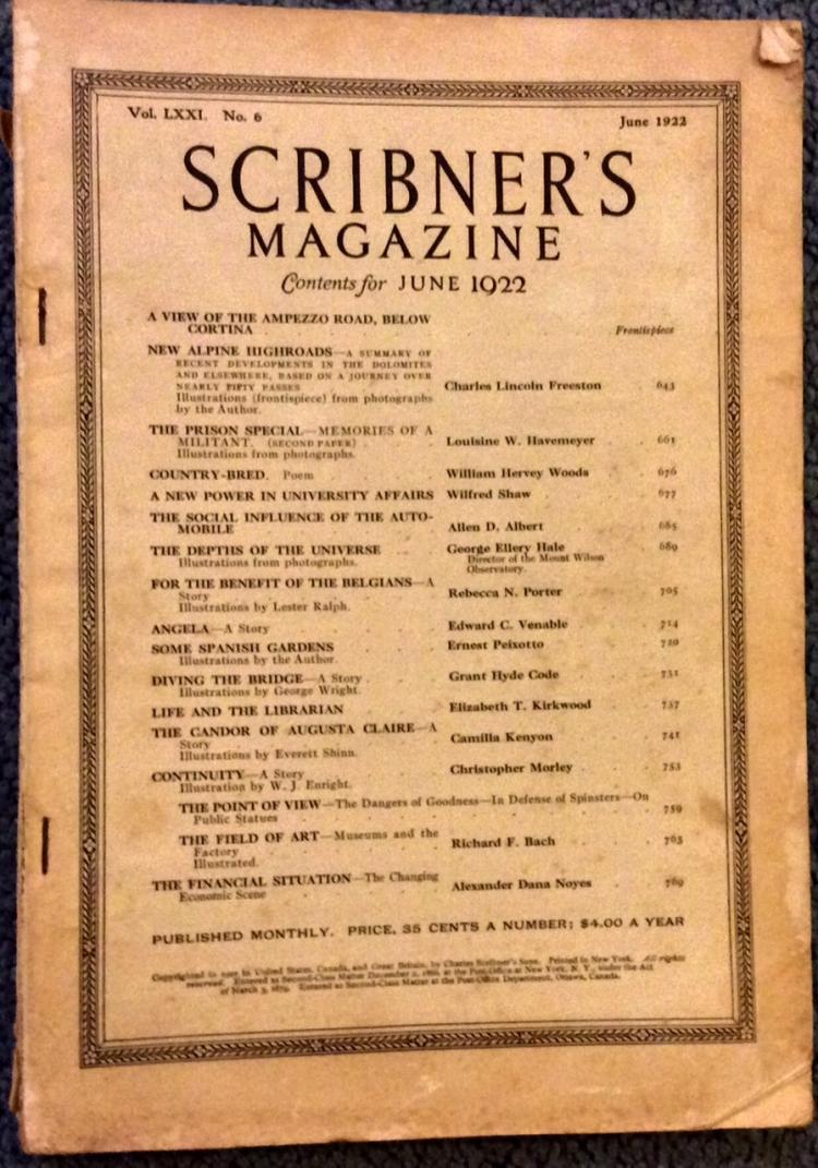 Antique 1922 Illustrated Scribner's Magazine