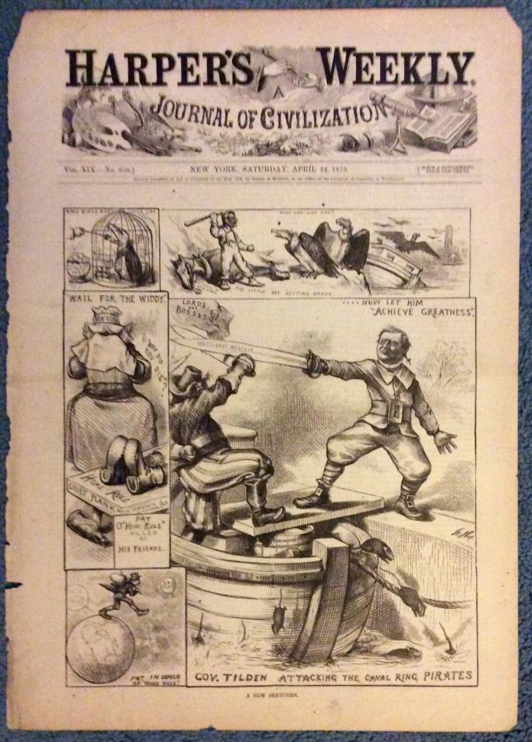 ANTIQUE 1875 Thomas Nast Full Page Harper's Weekly Cartoon