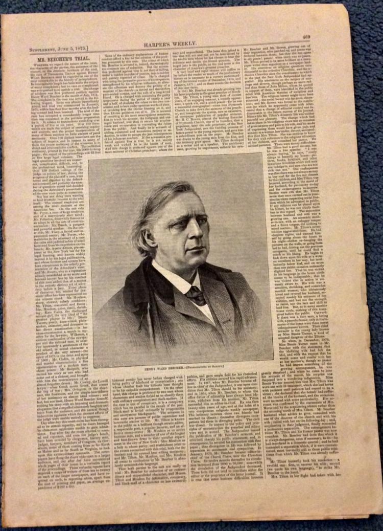 ANTIQUE 1875 Harper's Weekly Henry Ward Beecher Trial