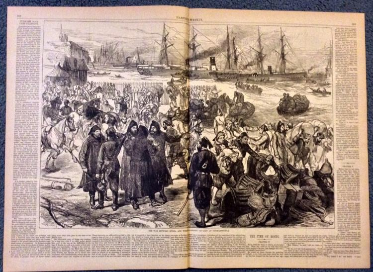 ANTIQUE 1877 Turco-Russian War Harper's Weekly Double Page