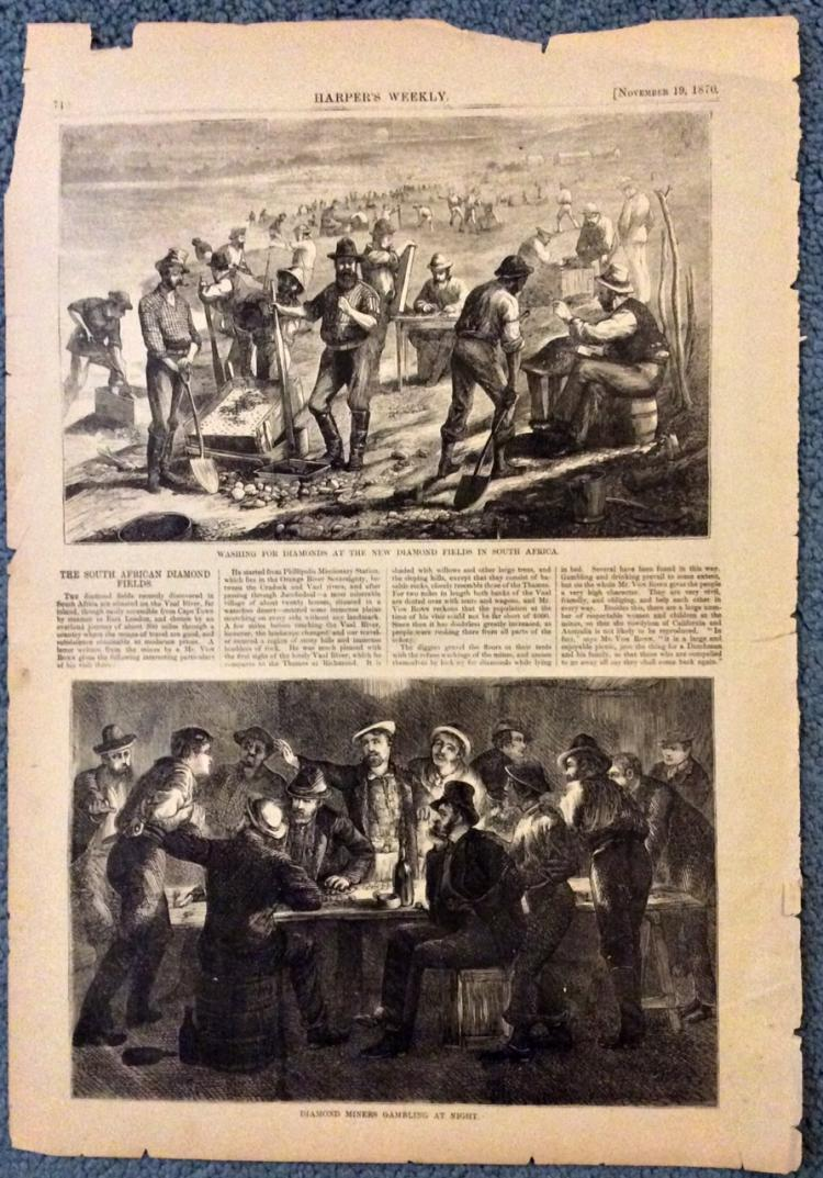 ANTIQUE 1870 Harper's Weekly South African Diamonds