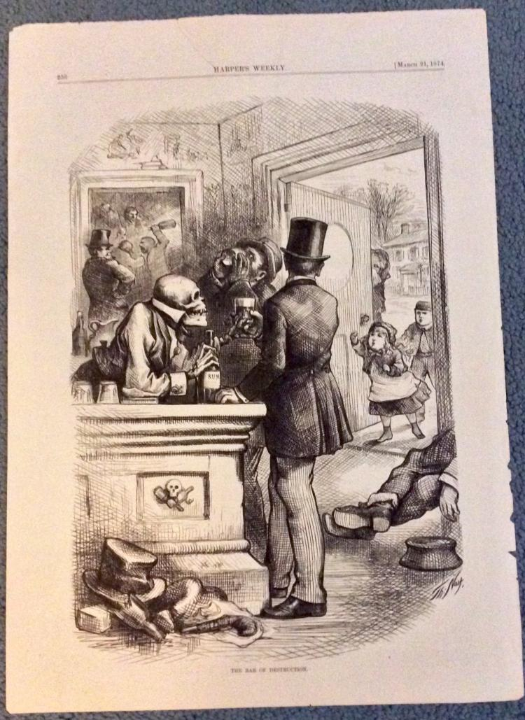 ANTIQUE 1874 Thomas Nast Full Page Harper's Weekly Cartoon