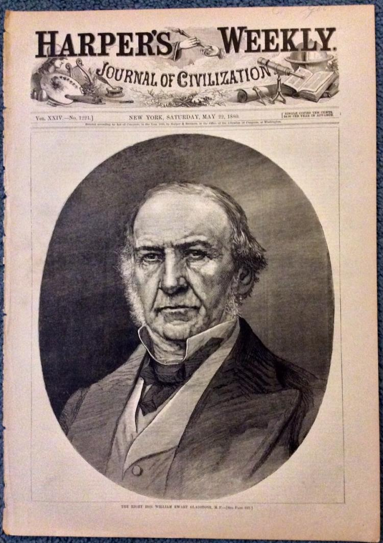 ANTIQUE 1880 Harper's Weekly William Gladstone Portrait