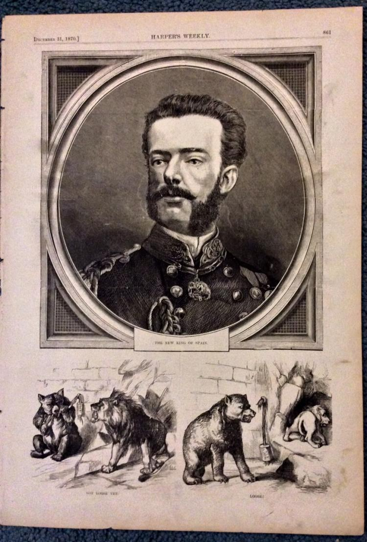 ANTIQUE 1870 Harper's Weekly King of Spain's Portrait