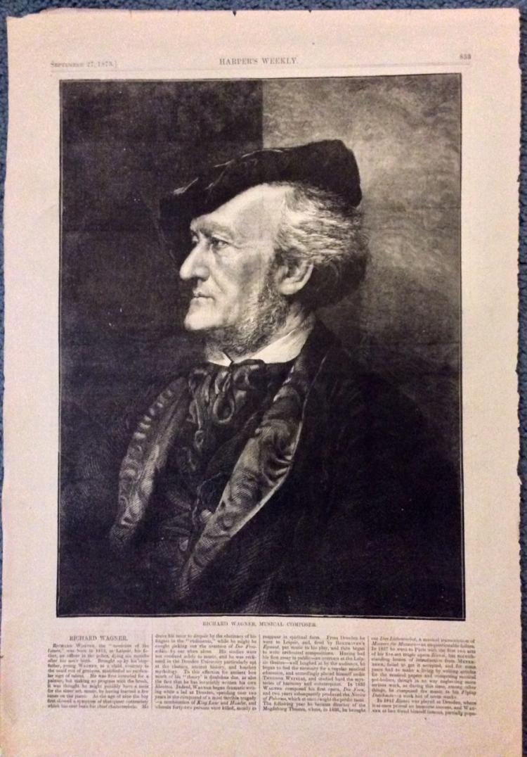 ANTIQUE 1873 Harper's Weekly Richard Wagner Portrait