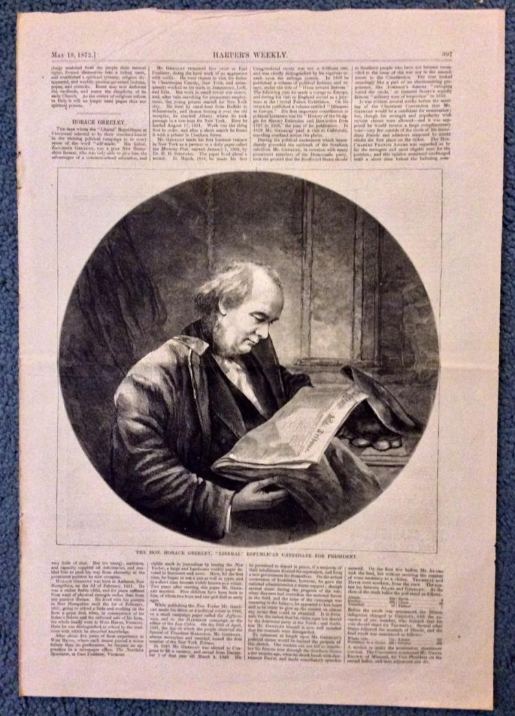 ANTIQUE 1872 Harper's Weekly Horace Greeley Portrait